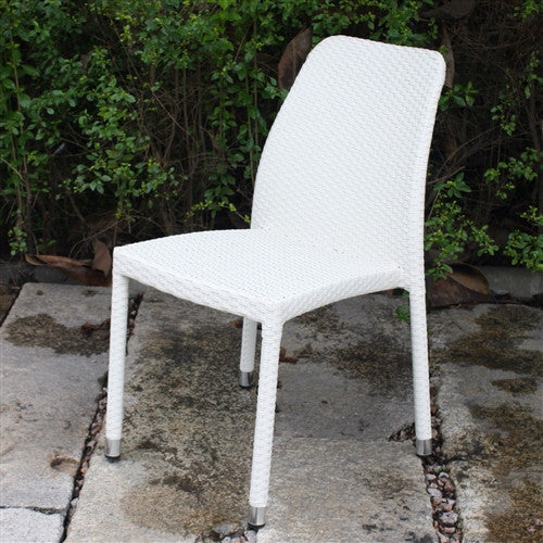 All-Weather White Wicker Resin Outdoor Stacking Patio Chair