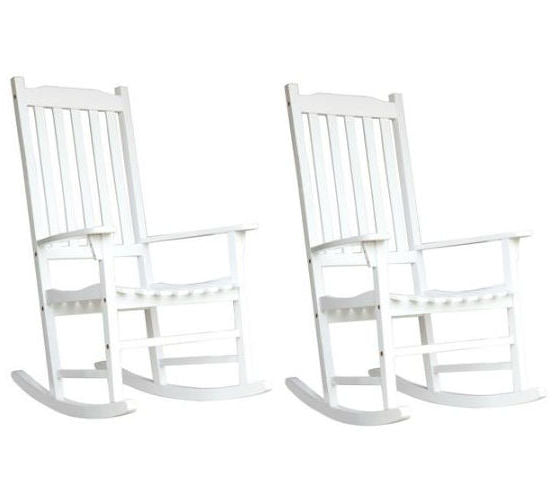 Set of 2 - Indoor/Outdoor Patio Porch White Slat Rocking Chairs - YourGardenStop