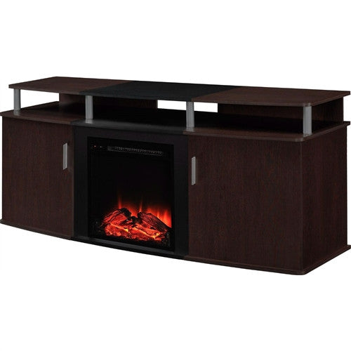 Electric Fireplace TV Stand in Cherry Black Wood Finish up to 70-inch