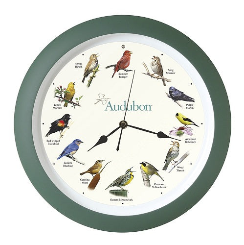 "Audubon Singing Clock 13"" in Green - YourGardenStop"