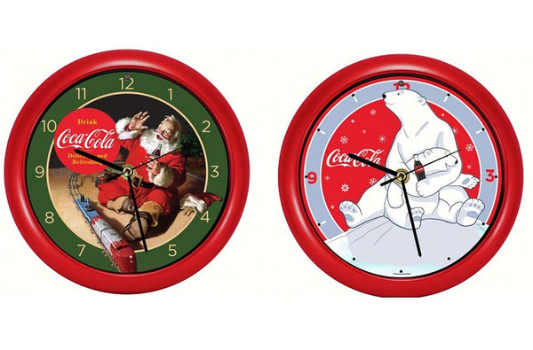 Coca-Cola Santa w/Train or Polar Bear w/Cub 8 inch Sound Clock