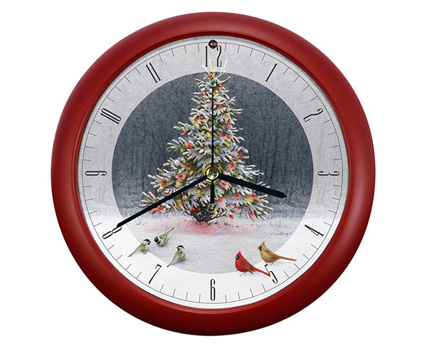 Christmas Tree Bird Gathering Clock by Catherine McClung - YourGardenStop