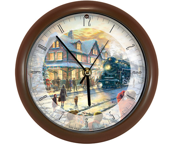 "Thomas Kinkade All Aboard for Christmas 8"" Clock - YourGardenStop"