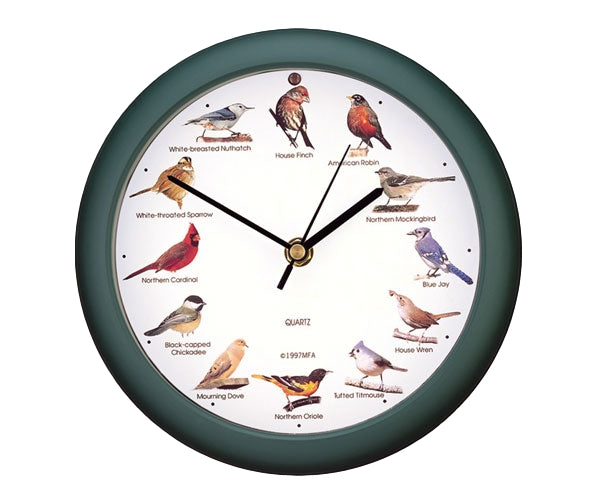 Original Singing Bird Clock 8 inch Green