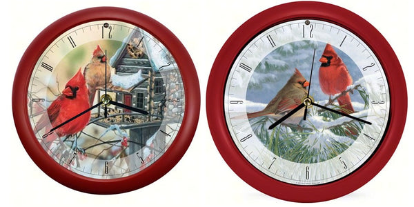 "Winter Light Cardinal & Rustic Cardinals 8"" Sound Clocks"