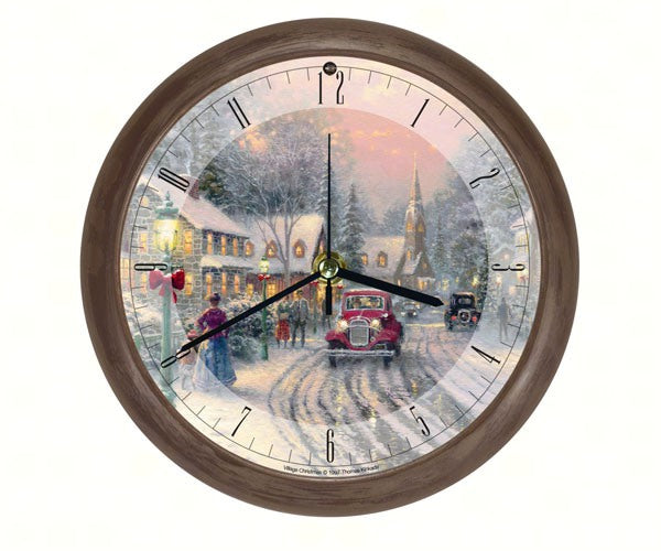 Thomas Kinkade Village Christmas 8 inch Sound Clock