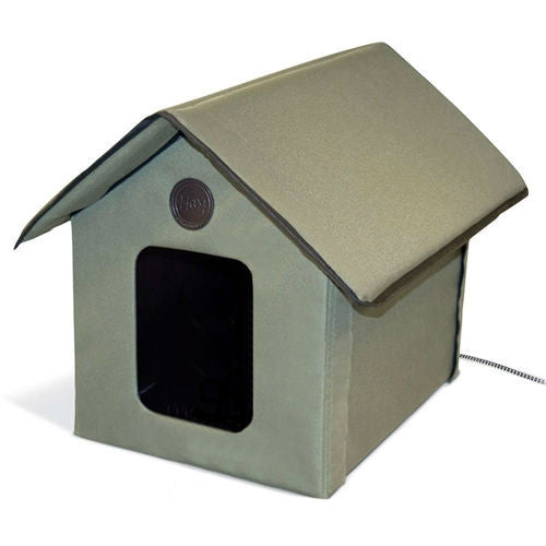 Outdoor Water-Resistant Heated Cat House in Olive Green - YourGardenStop