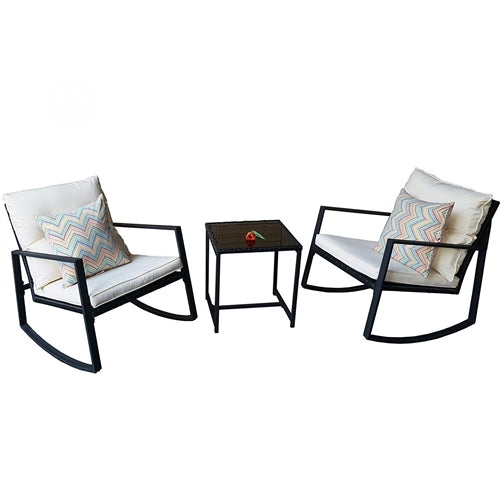 Black 3-Piece Patio Set w/2 Rocking Chairs White Cushions & Table - YourGardenStop
