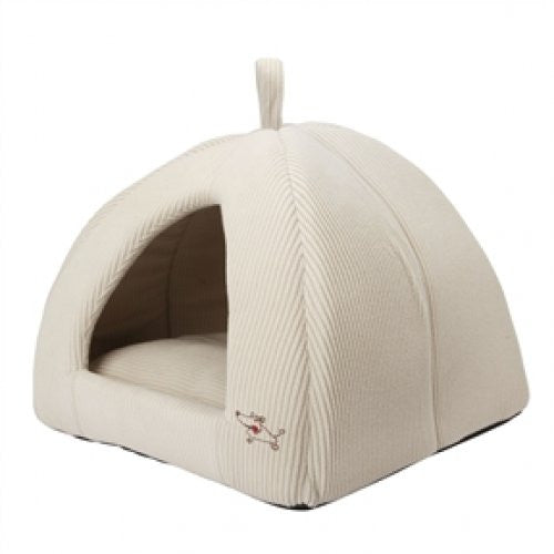 Beige Medium Size Dog Bed Dome Tent Machine Washable - YourGardenStop