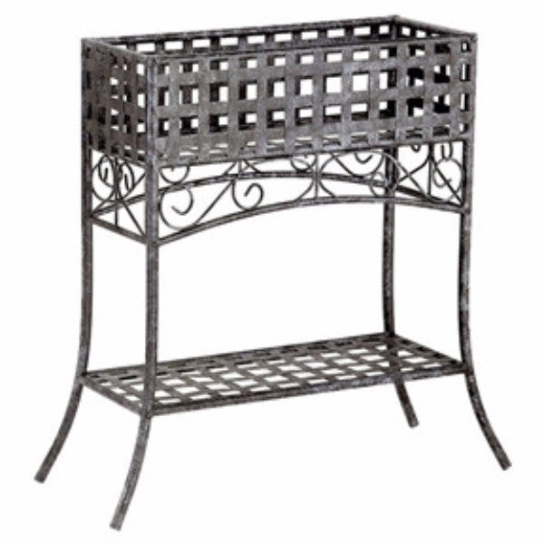 Elevated Rectangular Metal Planter Stand in Black Wrought Iron - YourGardenStop
