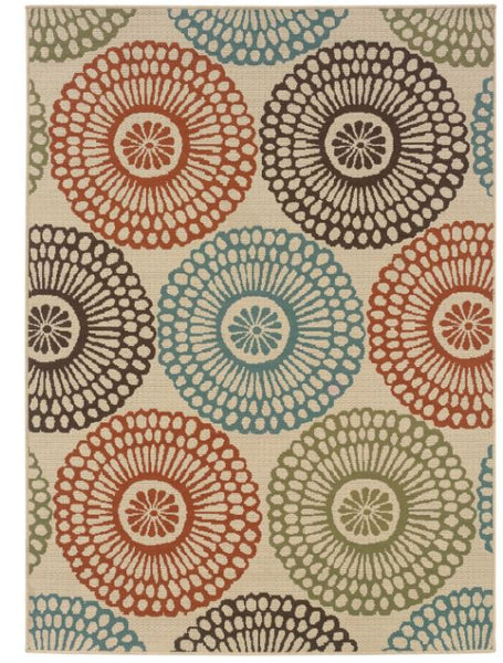 "7'10"" x 10'10"" Indoor/Outdoor Beige Area Rug w/Colorful Circle Pattern"