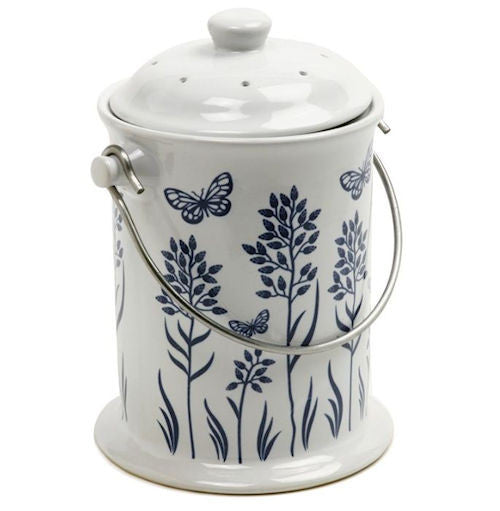 3-Quart Ceramic Compost Pail in Floral butterfly Design - YourGardenStop