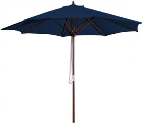 Navy Blue 9 Foot Outdoor Patio Umbrella with Wood Frame and Pulley - YourGardenStop