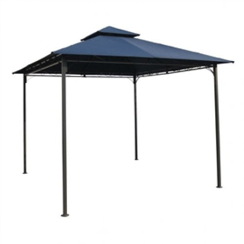 10Ft x 10Ft Gazebo with Iron Frame and Navy Blue Canopy - YourGardenStop