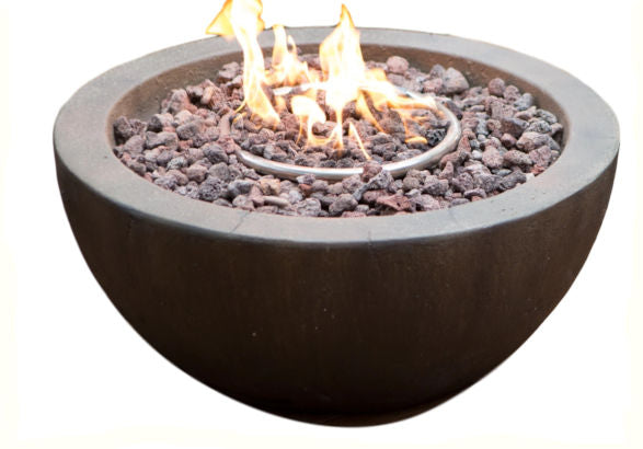 "28"" Round Gray Enviro Stone Fire Pit / Propane or Natural Gas - YourGardenStop"