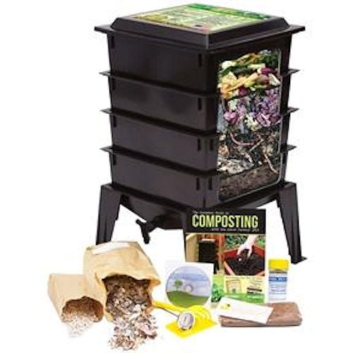 Black Worm Composter with Compost Tea Spigot - Indoor or Outdoor - YourGardenStop