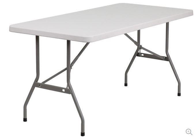 Steel Frame Rectangular Folding Speckled Grey Top Table - YourGardenStop