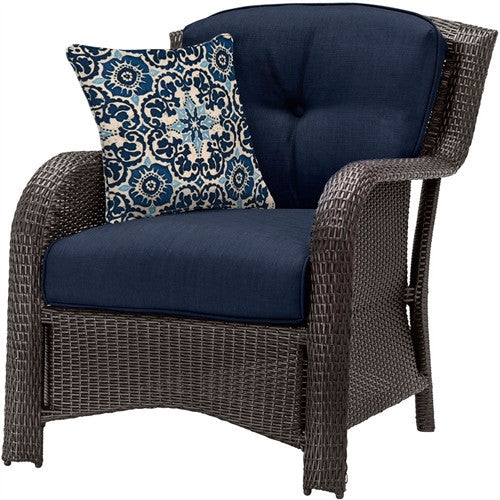 6-Piece Resin Wicker Patio Furniture Set with Blue Seat Cushions - YourGardenStop