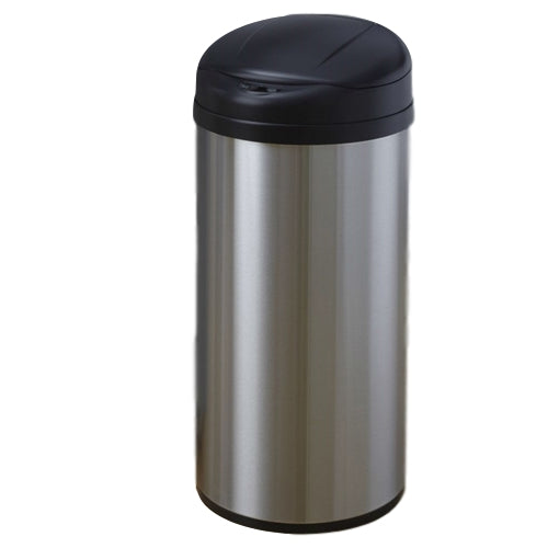 Round Stainless Steel 13-Gallon Touchless Kitchen Trash Can - YourGardenStop