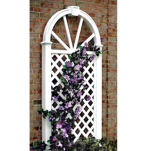7 Ft Garden Trellis in White Vinyl with Arch Top - YourGardenStop