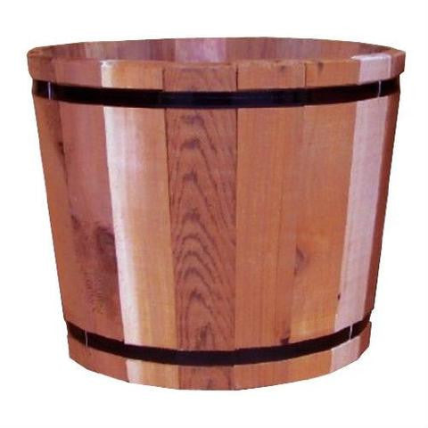 18.5-inch Outdoor Barrel Planter in Cedar Wood - YourGardenStop