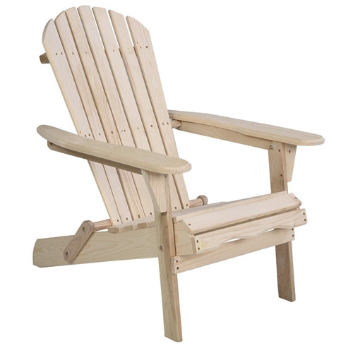 Unfinished Wood Folding Adirondack Chair Outdoor Garden Patio - YourGardenStop