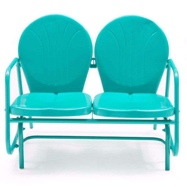 Aqua Blue Teal Turquoise Steel Frame Outdoor Bench Loveseat Glider Chairs - YourGardenStop