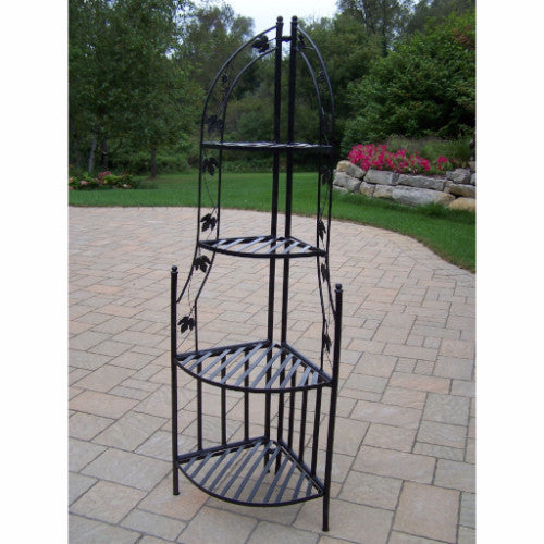 4 Tier Wrought Iron Corner Metal Planter Stand in Black - YourGardenStop