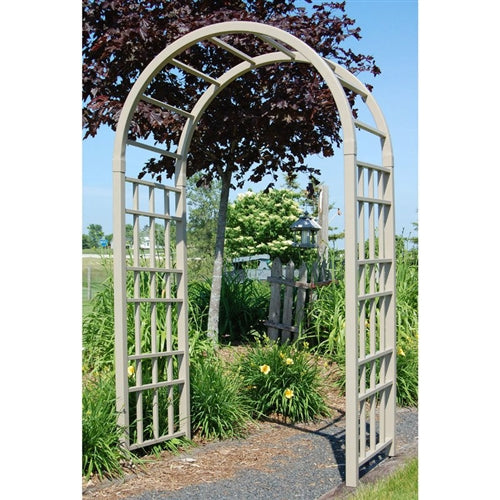 Outdoor 7.5 Ft Mocha Vinyl Arched Arbor for Garden Made in USA - YourGardenStop