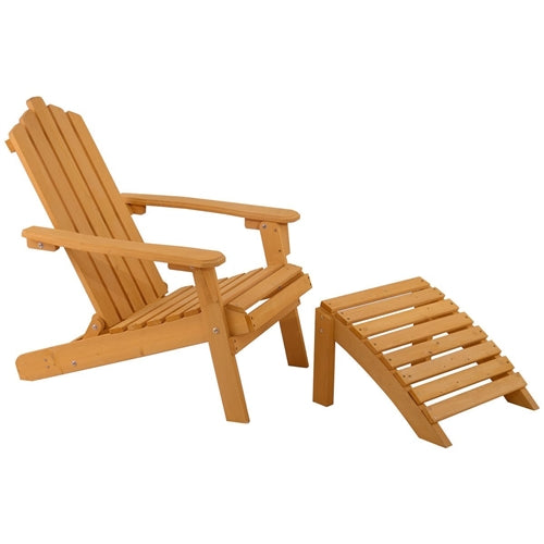 Folding Wooden Adirondack Chair with Foot Rest Ottoman - YourGardenStop