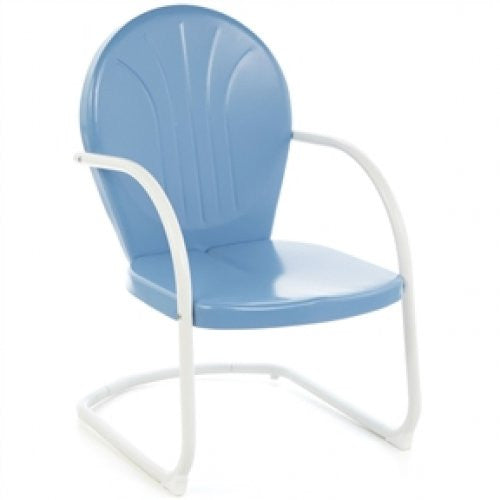 Sky Blue Patio Dining Arm Chair in Weather Resistant Steel - YourGardenStop
