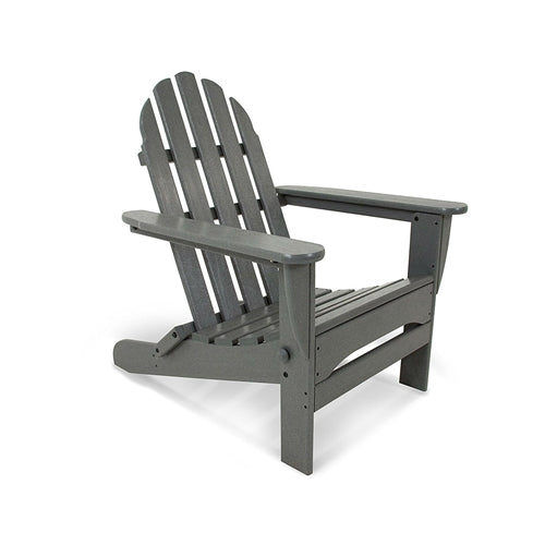 Outdoor All-Weather Folding Adirondack Chair in Gray Wood Finish - YourGardenStop