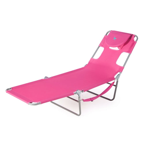Pink Outdoor Chaise Lounge Beach Chair with 3 Recline Positions - YourGardenStop