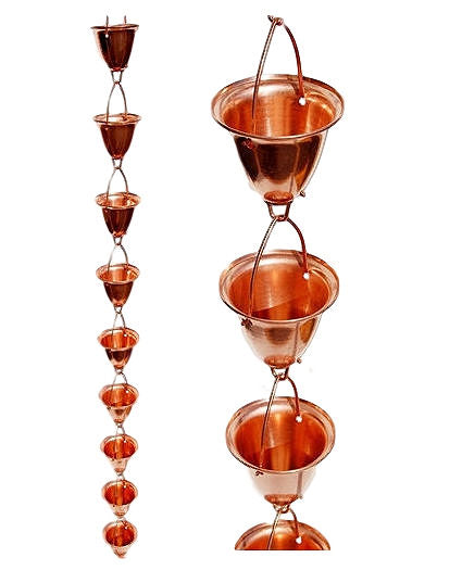 Solid 100% Copper 8-Foot Funnel Cup Rain Chain for Rain Gutter - YourGardenStop