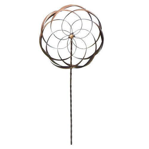 Handcrafted Copper Plated Metal Spinning Flower Pinwheel Wind Spinner