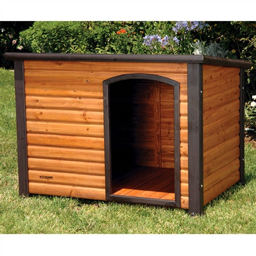 Log Cabin Style Outdoor Dog House Shelter 44.4L x 26.2W x 29.5H inch - YourGardenStop