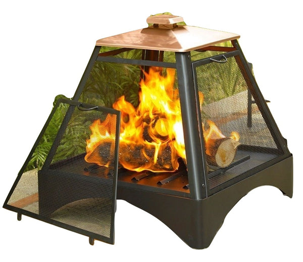Outdoor Pagoda Pyramid Fire Pit Fireplace with Copper Roof - YourGardenStop