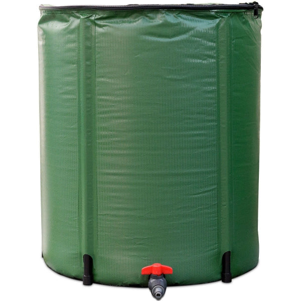 Portable 60-Gallon Rain Barrel Collapsible with Zippered Top in Green - YourGardenStop