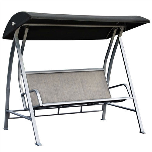 Steel Frame 3-Seat Sling Canopy Swing in Grey