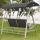 Steel Frame 3-Seat Sling Canopy Swing in Grey - YourGardenStop