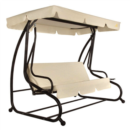 3-Seat Canopy Swing with Beige Cushions - YourGardenStop