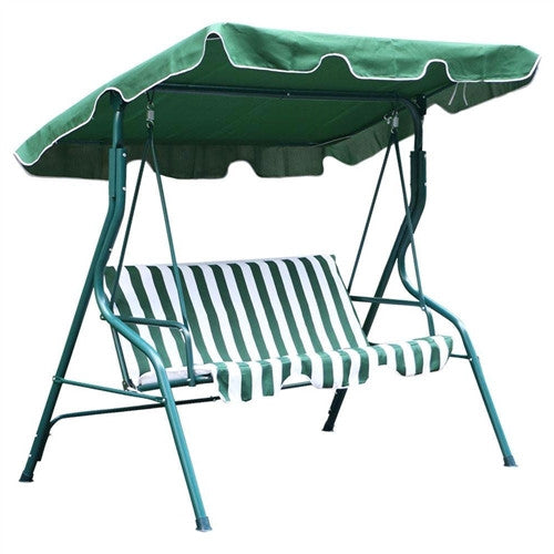 Steel Frame 3-Seat Canopy Swing Hammock in Green and White - YourGardenStop