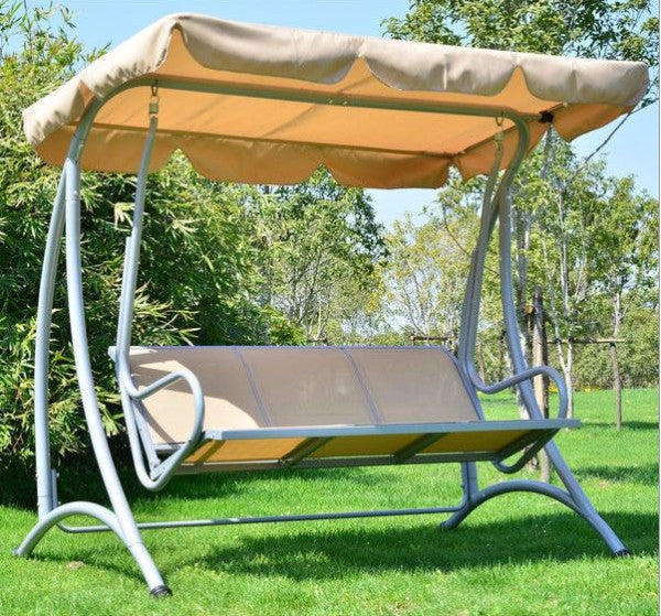 3-Person Outdoor Porch Canopy Swing in Sand - YourGardenStop