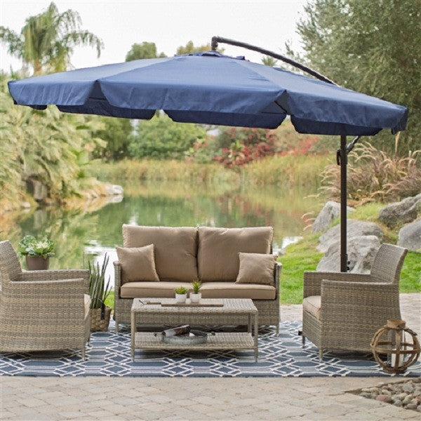 11-Ft Offset Patio Umbrella in Blue w/Base & Detachable Mosquito Netting - YourGardenStop