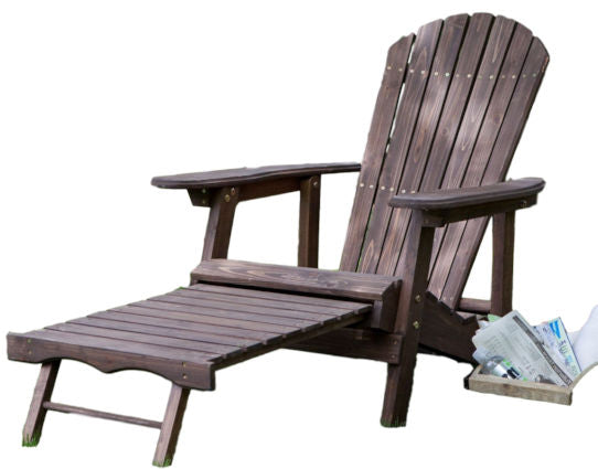 Dark Brown Wood Adirondack Chair with Built in Retractable Ottoman - YourGardenStop