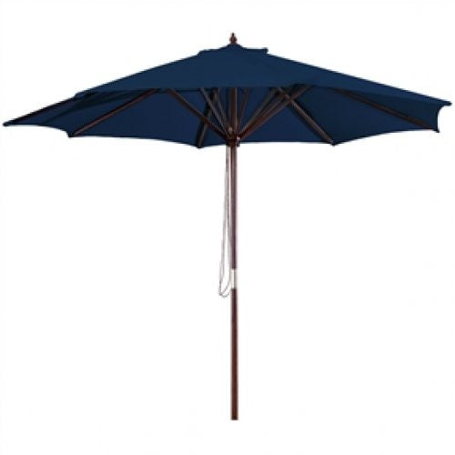 9 Foot Wood Frame Patio Umbrella and Royal Blue Canopy - YourGardenStop