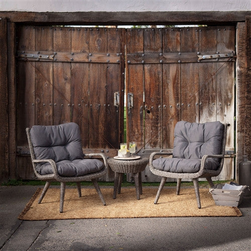 Wicker Resin Patio Furniture Set w/2 Chairs Cushions & Side Table