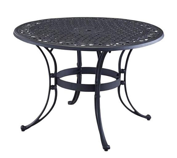48 inch Round Black Metal Outdoor Patio Dining Table with Umbrella Hole - YourGardenStop