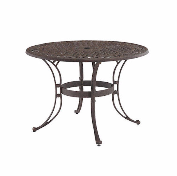 42 inch Round Patio Dining Table in Rust Brown Metal with Umbrella Hole - YourGardenStop