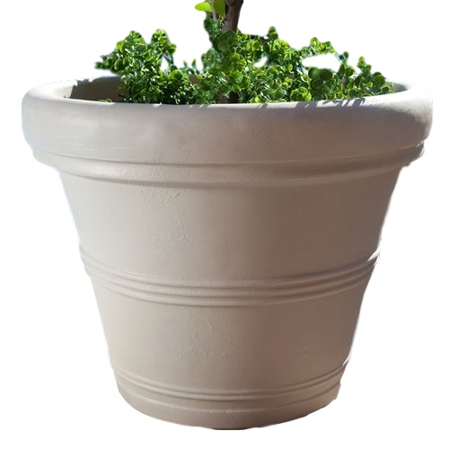 Round 26-inch Outdoor Patio Planter in Weather Concrete - YourGardenStop